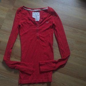Red long sleeve hollister shirt
